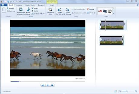 Windows Live Movie Maker - základní obrazovka