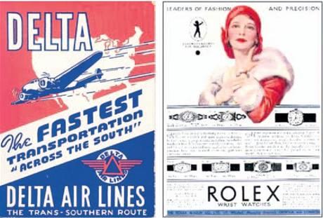 Reklama na aerolinky Delta a hodinky Rolex
