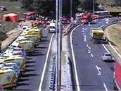 Záběr otočné kamery na 190,1 kilometru dálnice D1 u Brna