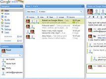 """Google Wave - základní rozložení aplikace s otevřenou aktivní """"wave"""" v pravé části. Zelená a fialová popiska ukazuje v reálném čase, co kolegové píší."""