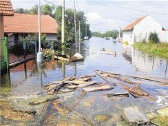 Červená Píska v době povodní v roce 2002