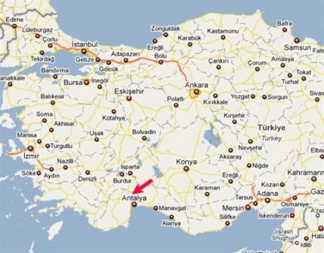 mapa - nehoda autobusu Firo Tour v Turecku