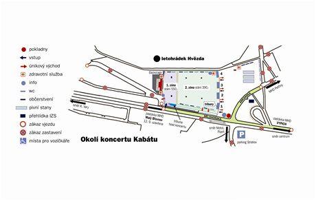 Mapa areálu pro koncert skupiny Kabát na Vypichu