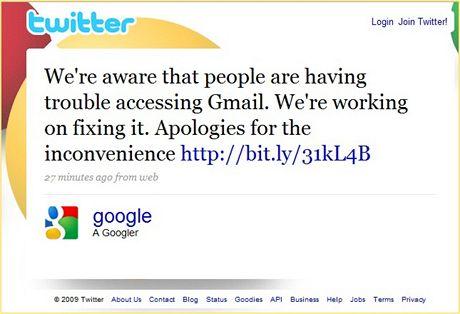 Gmail nefunguje