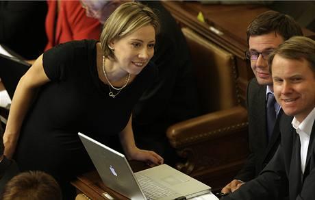 Poslanci Martin Bursík, Ondřej Liška a Kateřina Jacques na poslední schůzi Sněmovny (8. září 2009)