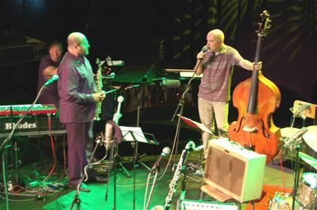 z oslavy narozenin Jaromíra Honzáka (Quartet East, zleva Kuba Stankiewicz, Piotr Baron, Jaromír Honzák)
