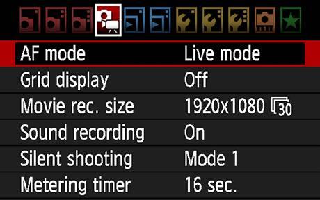 Menu pro video u Canonu EOS 7D