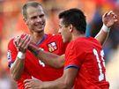 Česko: útočník Milan Baroš (vpravo) a obránce David Rozehnal se radují z gólu