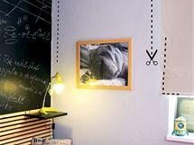 Na stěně v Tomášově pokoji nechybí fotografie třetího člena rodiny - psa Barneyho