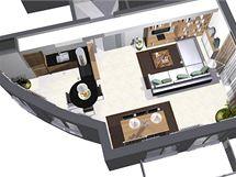Obývací kuchyně s velkou knihovnou