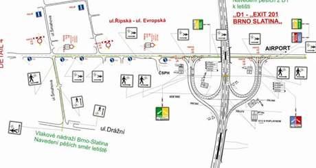 Plánek dopravních opatření při papežově návštěvě.