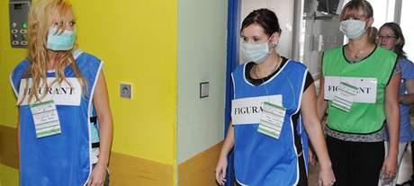 Cvičení hasičů v brněnské Fakultní nemocnici.