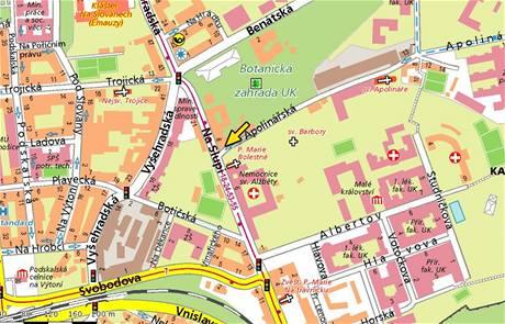 Mapa Prahy, ulice Apolinářská a Na Slupi.