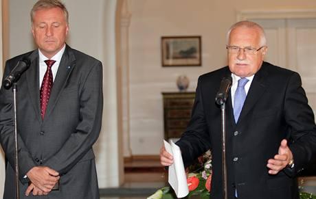 Václav Klaus se sešel na Hradě s Mirkem Topolánkem. (17.9.2009)