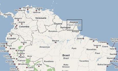 mapa - Francouzská Guyana