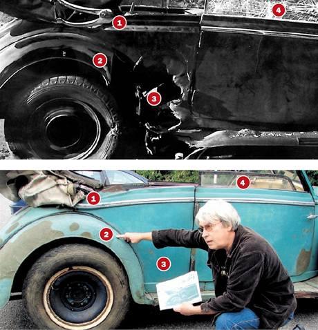 Historik Jaroslav Čvančara ukazuje na mercedesu místa, která nasvědčují, že jde o Heydrichův vůz.