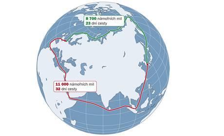 Mapa námořních tras.