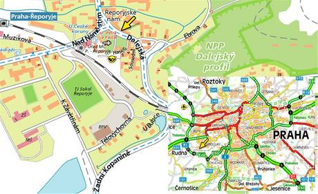Mapa - Praha, Řeporyje