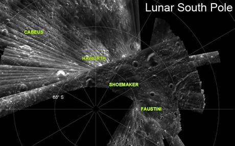Radarový snímek jižního pólu Měsíce