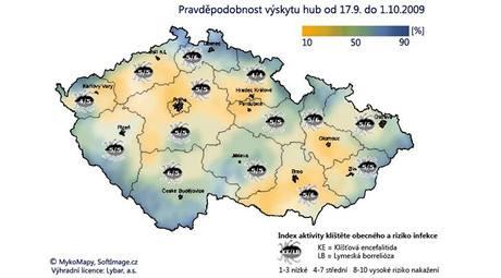 Aktuální předpověď výskytu hub a klíšťat pro ČR (Zdroj: biolit.cz)