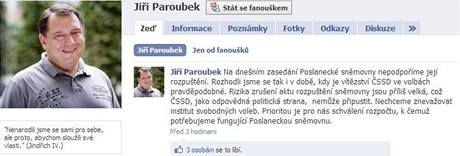 Profil Jiřího Paroubka na Facebook.com