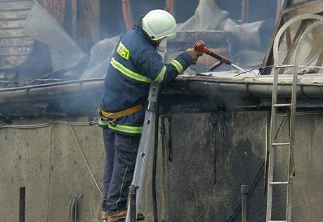Pětapadesát profesionálních i dobrovolných hasičí bojovalo s požárem dvou výrobních hal v areálu táborské firmy Comett plus