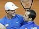 Tomáš Berdych (vlevo) a Radek Štěpánek se radují z postupu do finále Davisova poháru