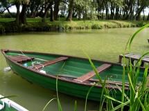 Maďarsko. Balaton. Na jihozápadním okraji jezera (zde u Balatonberény) se tvoří různé zátoky a jezírka. Právě tato místa mají rádi rybáři.