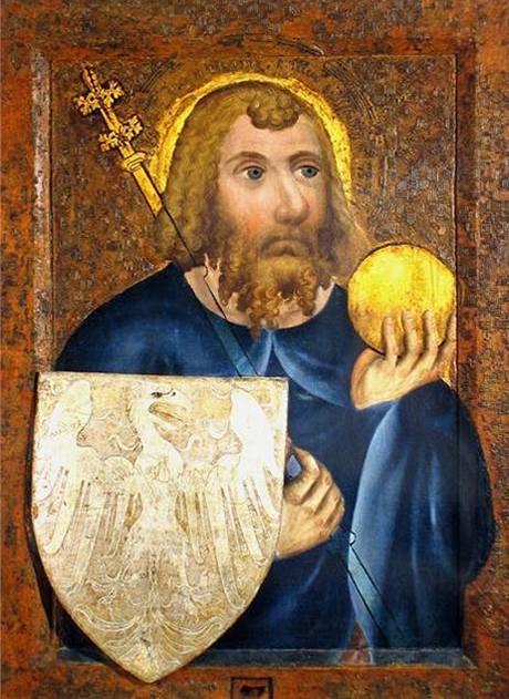 Svatý Václav. Jedna z gotických deskových maleb Mistra Theodorika v Kapli sv. Kříže na Karlštejně.