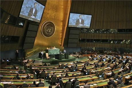 Mahmúd Ahmadínežád při projevu během Valného shromáždění OSN. (23. září 2009)