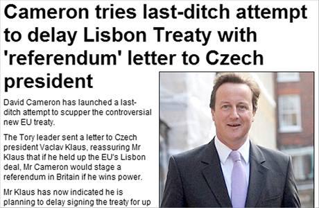 Deník Daily Mail píše o dopisu Davida Camerona Václavu Klausovi na svém webu.
