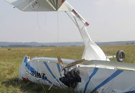 Zřícené letadlo v Plané na Českobudějovicku.