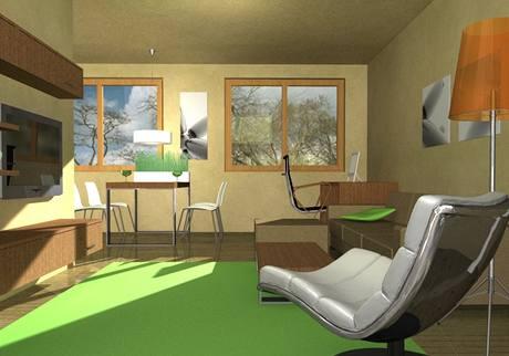 V obývací části je i pracovní kout