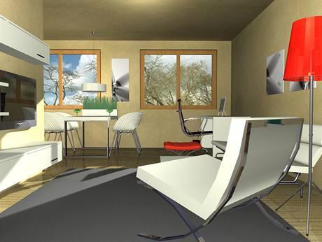 Závěsný nábytek a subtilní kovové podnoží prostor opticky odlehčí a zvětší