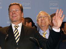 Předseda FDP Guido Westerwelle po zveřejnění prvních odhadů výsledků německých parlamentních voleb. (27. září 2009)