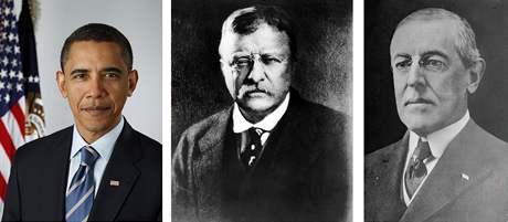 Američtí prezidenti, kteří v úřadu dostali Nobelovu cenu míru: Barack Obama (2009), Theodore Roosevelt (1906) a Woodrow Wilson (1919)