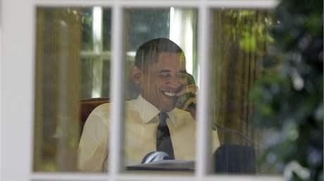 Barack Obama poté, co se stal laureátem Nobelovy ceny za mír (9. října 2009)