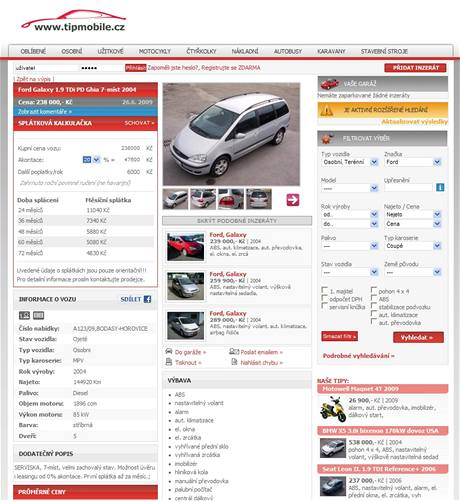 Automobilov� inzertn� server Tipmobile.cz