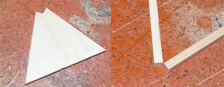 Překližka vyříznutá tak, aby odpovídala tvaru zakončení trojúhelníků