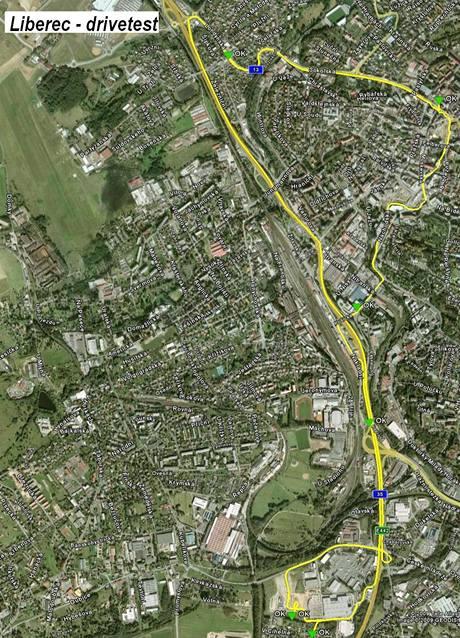 Mapa měřené trasy - Liberec