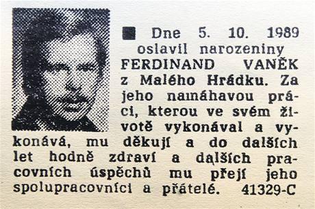 Blahopřání k narozeninám Václava Havla otištěné v Rudém právu 5. října 1989.