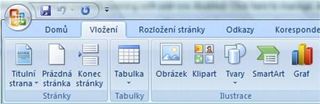 Pás karet v programu Microsoft Word 2007