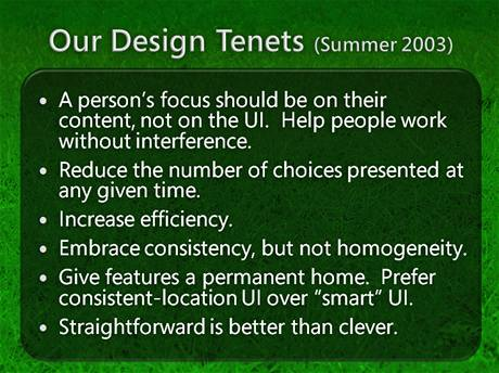 """Mantra"" vývojářů GUI, léto 2003"