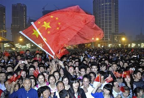 Velkolepá přehlídka na náměstě Nebeského klidu v centru Pekingu u příležitosti 60. výročí založení Čínské lidové republiky (1. října 2009)