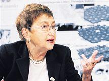 Jiřina Šiklová při rozhovoru s Barborou Tachecí