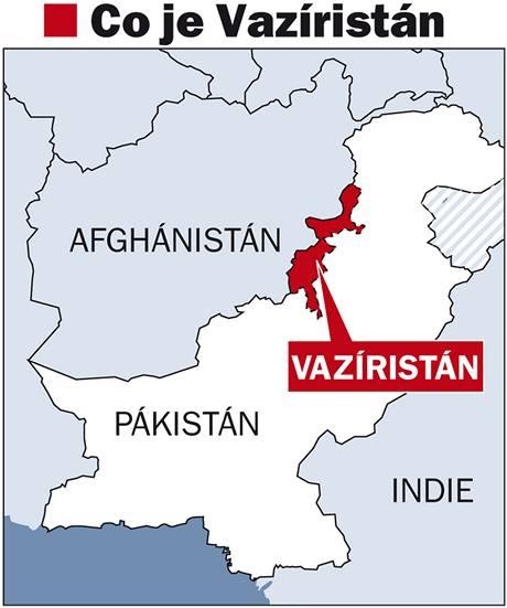 Mapa pakistánské oblasti Vazíristánu.