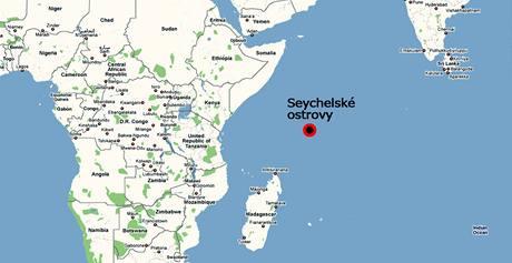 Mapa Seychelských ostrovů.