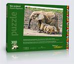 Puzzle s pralesními slony z Dzanga Bai ve Středoafrické republice.