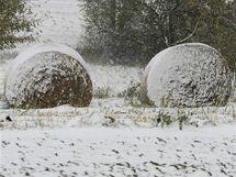 První sníh na jižní Moravě.