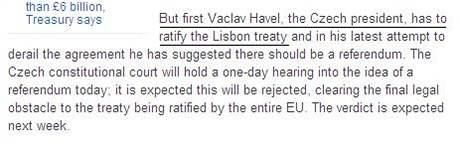 Britský deník The Daily Telegraph označil prezidentem Václava Klause (27. října 2009)